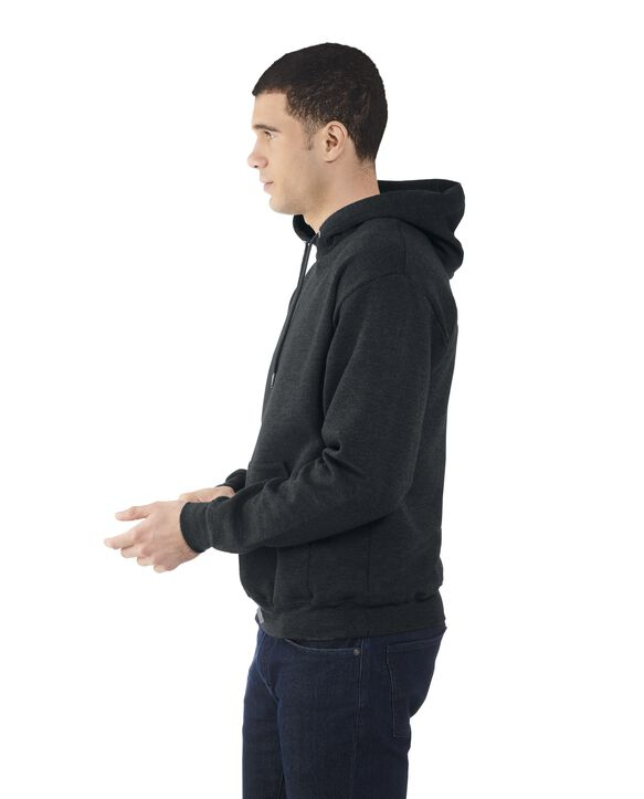 Men's EverSoft Fleece Pullover Hoodie Sweatshirt, Extended Sizes, 1 Pack Black Heather