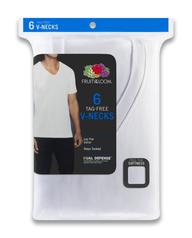 Men's Short Sleeve White V-Neck T-Shirts, 6 Pack White
