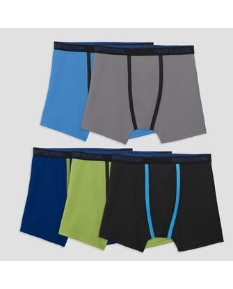 Fruit of the Loom Boys' Breathable Lightweight Micro-Mesh Boxer Briefs, 5 Pack