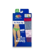 Women's No Ride Up Bikini, 4 Pack Assorted