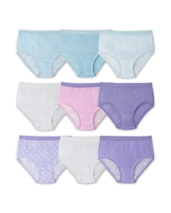 Girls' 9 Pack Assorted Color Brief