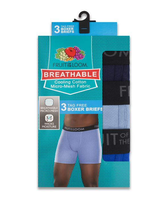 Men's Breathable Cotton Micro-Mesh Assorted Color Boxer Brief, 3 Pack Assorted