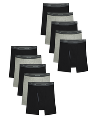 Men's CoolZone Fly Black and Gray Boxer Briefs, 10 Pack ASSORTED