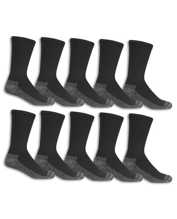 Men's Work Gear Crew Socks,  10 Pack, Size 6-12 BLACK/CHARCOAL