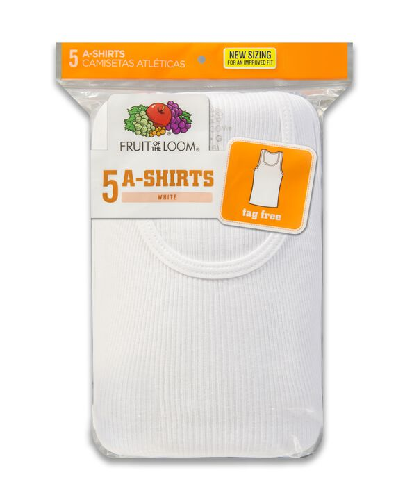 Boys' White Tank Top A-Shirts, 5 Pack White