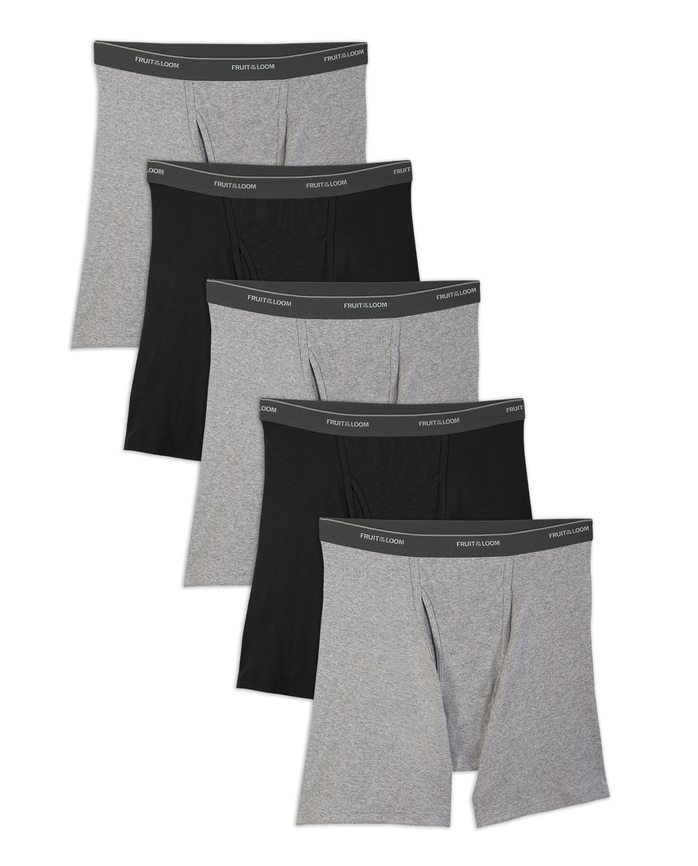 Men's Dual Defense Black and Gray Boxer Briefs, 5 Pack