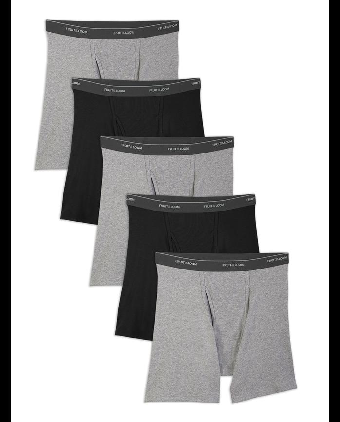 Men's Dual Defense Black and Gray Boxer Briefs, 5 Pack