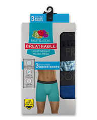 Men's Breathable Micro-Mesh Print and Solid Boxer Briefs, 3 Pack ASSORTED