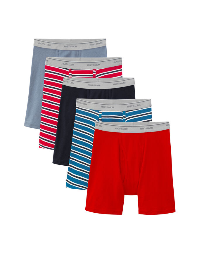 Men's 5 Pack Stripe/Solid Boxer Briefs