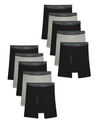 Men's CoolZone Fly Black and Gray Boxer Briefs, 10 Pack