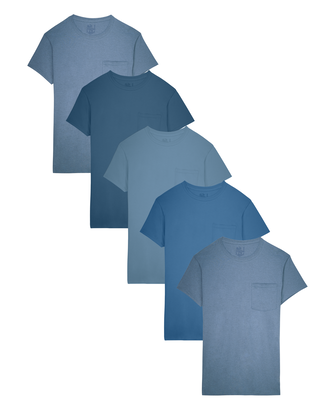 Men's Short Sleeve Assorted Blues Pocket T-Shirts, 5 Pack