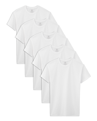 Boys' White Crew Neck T-Shirts, 5 Pack