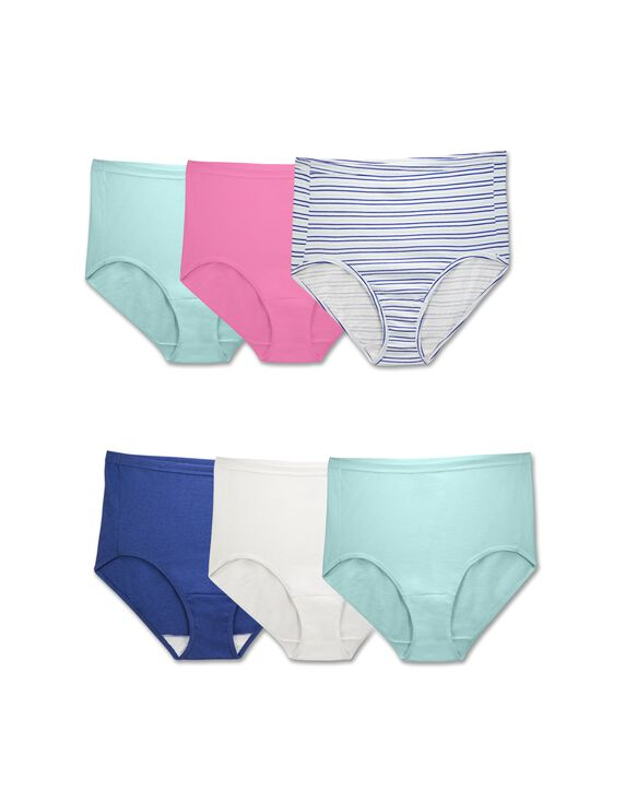 Women's Plus Fit for Me Comfort Covered Cotton Assorted Brief Panty, 6 Pack ASSORTED