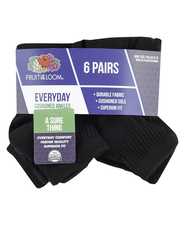 Men's Cushioned Ankle Socks, 6 Pack, Size 6-12