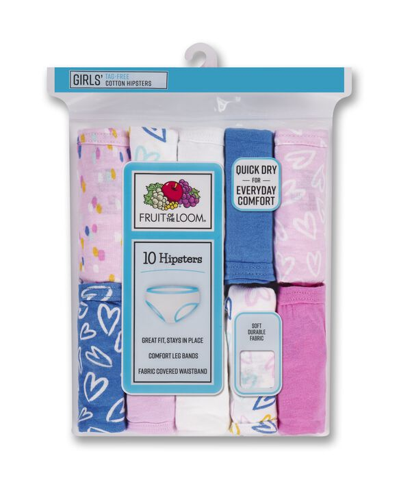 Girls' Assorted Cotton Hipster, 10 Pack Confetti & Hearts Assortment