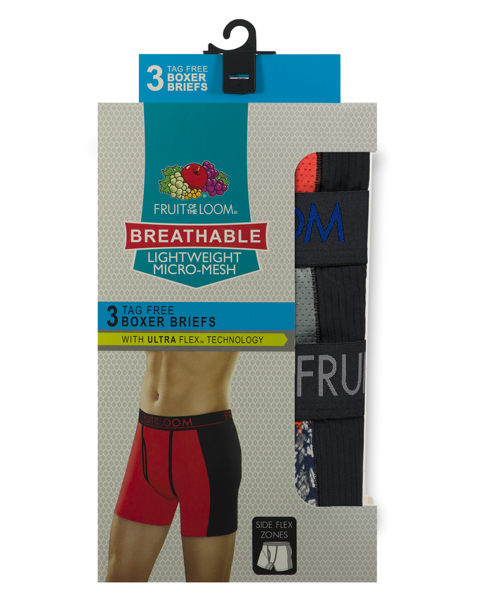 Men's Breathable with Ultra Flex Boxer Briefs, 3 Pack