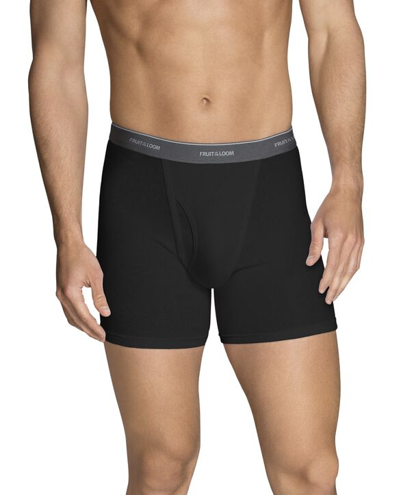 Men's Black and Gray Short Leg Boxer Briefs, 5 Pack Assorted