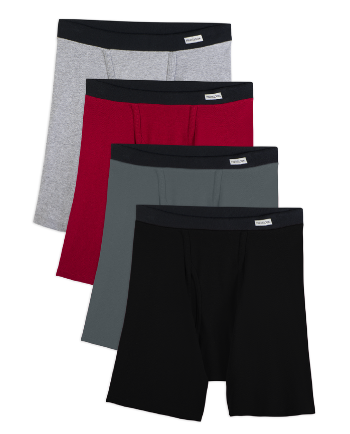 Men's Dual Defense® Soft Covered Waistband Boxer Briefs, 4 Pack, Extended Sizes Assorted Color