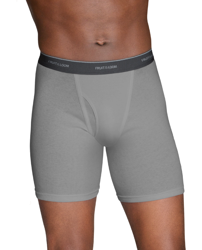 Men's Dual Defense Black and Gray Boxer Briefs, 5 Pack Black & Grey