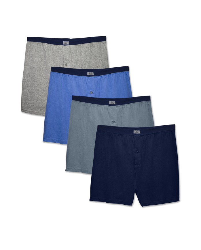 Men's Assorted Knit Boxers, 4 Pack, Extended Sizes