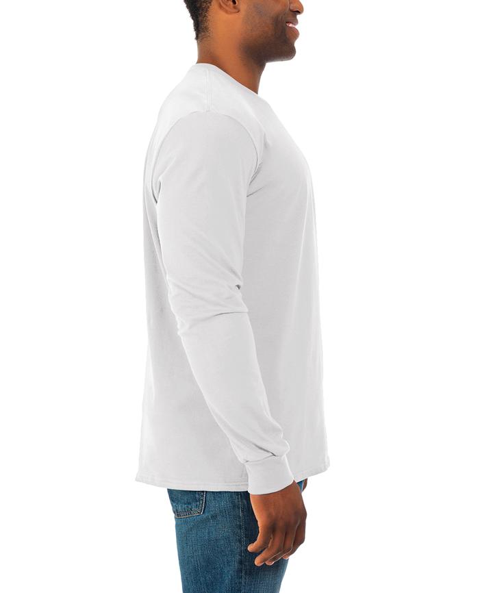 Men's Soft Long Sleeve Crew Neck T-Shirt, 2 Pack White