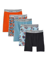 Boys' Print and Solid Boxer Brief, 5 Pack ASSORTED