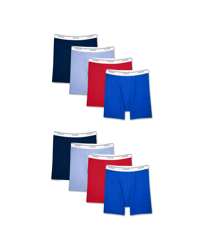 Men's Assorted Active Cotton Blend Boxer Briefs, 8 Pack