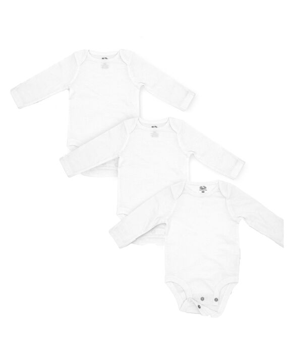 Baby Long Sleeve Breathable Bodysuits, 3 Pack White