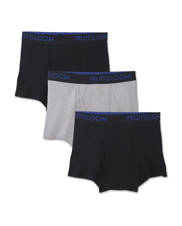 Fruit of the Loom Premium Breathable Cotton Mesh Men's Short Leg Boxer Briefs, 3 Pack - Black/Gray