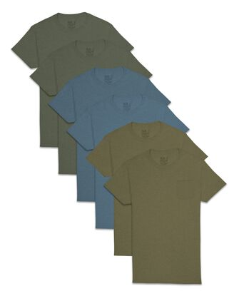 Men's Short Sleeve Assorted Pocket T-Shirt, 6 Pack