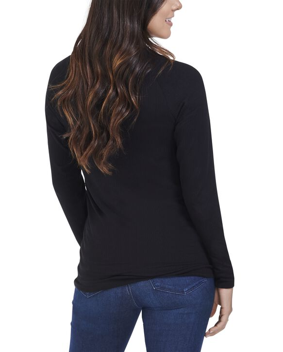 Women's Seek No Further Long Sleeve Ribbed T-Shirt Brilliant Black