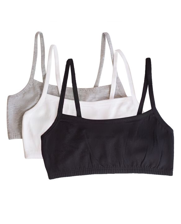 Women's Strappy Sports Bra, 3 Pack BLACK/WHITE/HEATHER GREY