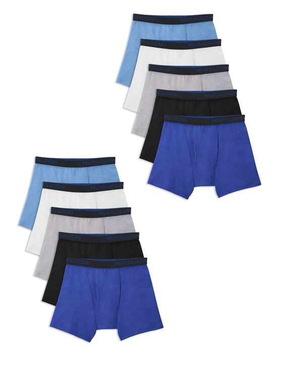 Boys' Breathable Cotton Boxer Briefs, 10 Pack  ASSORTED