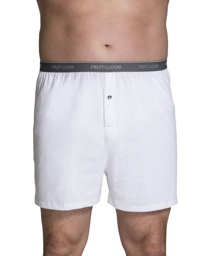Men's Big and Tall Cotton Knit Boxers, 3 Pack Assorted