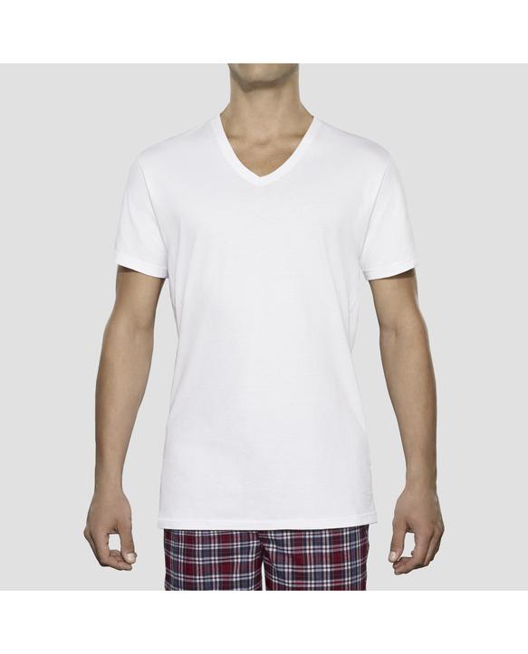 Tall Men's Classic White V-Neck T-Shirts, 6 Pack White