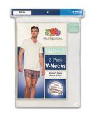 Tall Men's White V- Neck T-Shirts, 3 Pack White