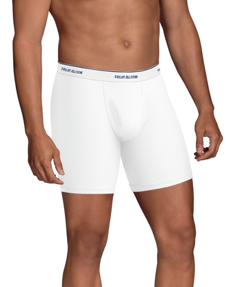 Men's CoolZone Fly White Boxer Briefs, Extended Sizes, 4 Pack