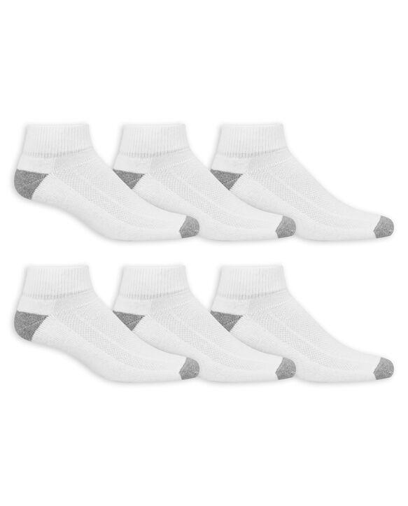 Men's Breathable Cotton Ankle Socks,  6 Pack, Soze 6-12 WHITE