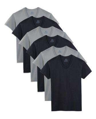 Men's Short Sleeve Black and Gray V-Necks, 6 Pack
