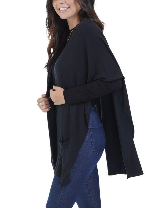 Women's Seek No Further Blanket Cape Poncho Cardigan Brilliant Black