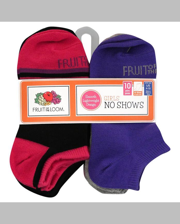 Girls' Lightweight No Show Socks, 10 Pack