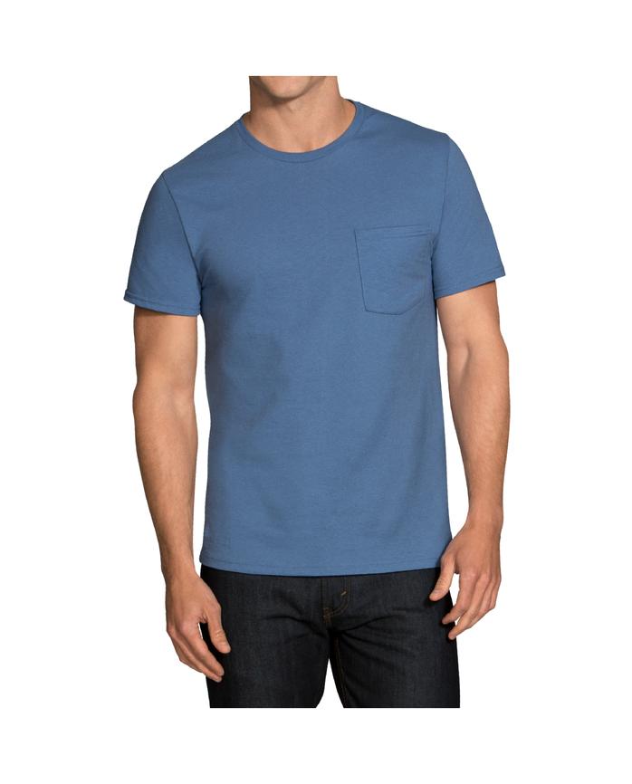 Men's Dual Defense® Assorted Blues Pocket T-Shirts, 5 Pack ASSORTED