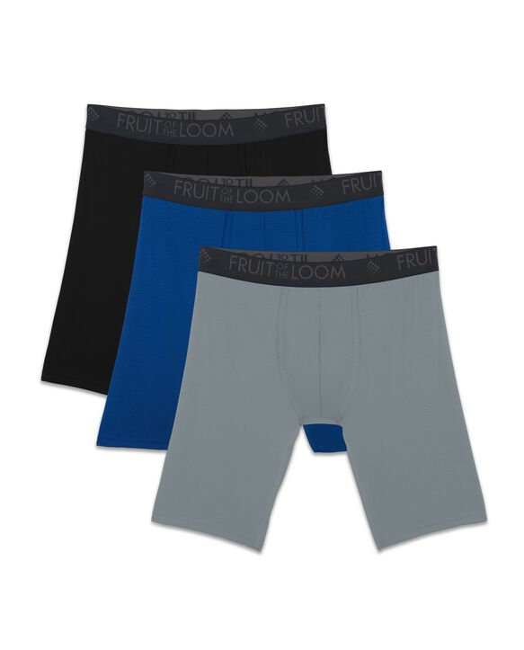 Men's Breathable Lightweight Micro-Mesh Long Leg Boxer Briefs, 3 Pack ASSORTED