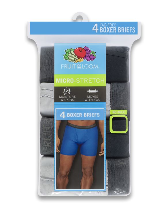 Men's Micro-Stretch Black and Gray Boxer Briefs, 4 Pack, Size 2XL ASSORTED