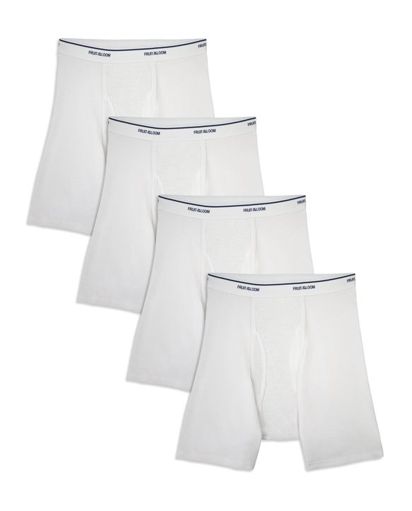 Men's CoolZone Fly White Boxer Briefs, Extended Sizes, 4 Pack WHITE