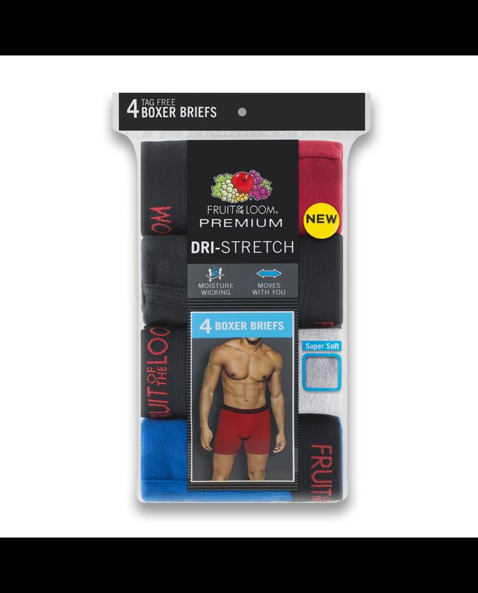 Fruit of the Loom Premium Dri-Stretch Men's Boxer Briefs, 4 Pack - Assorted