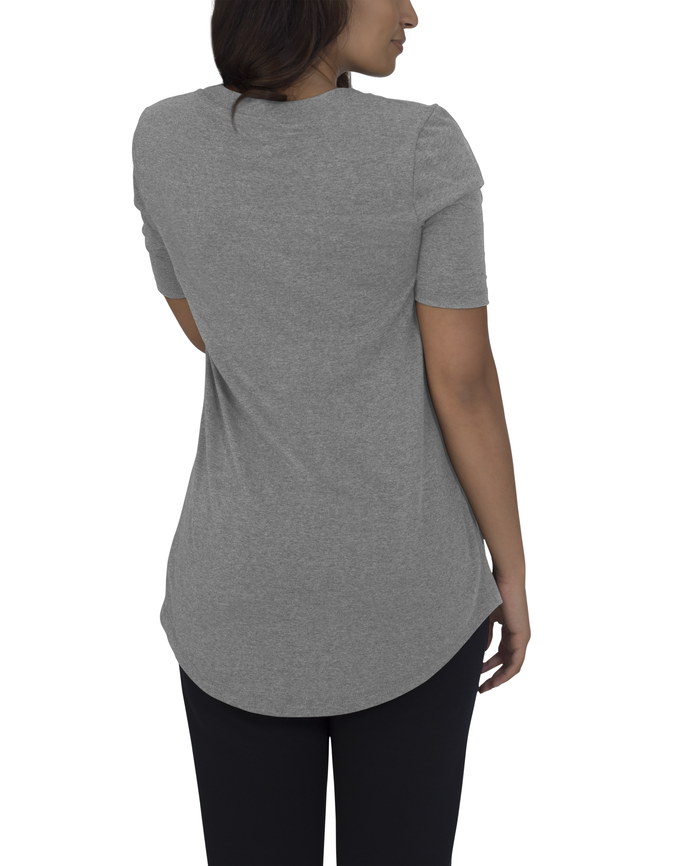 Women's Essentials Elbow Length V-Neck T-Shirt, 1 Pack Oxford