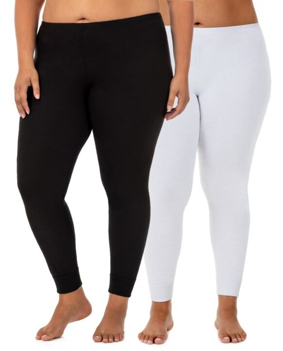 Women's Plus Size Thermal Bottom, 2 Pack BLACK/WHITE