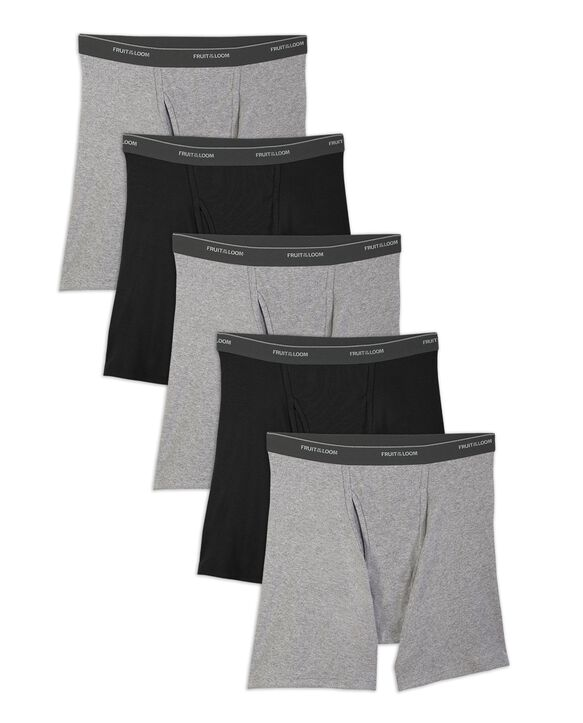 Men's Black and Gray Boxer Briefs, 5 Pack, Size Small Black & Grey