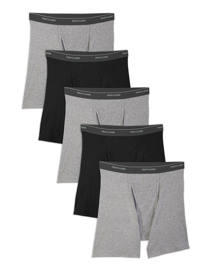 Men's CoolZone Fly Black and Gray Boxer Briefs, 5 Pack, Size Small
